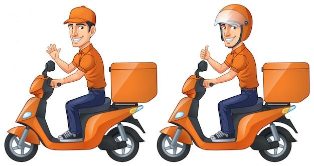 Courier boy rides scooter Vecteur Premium