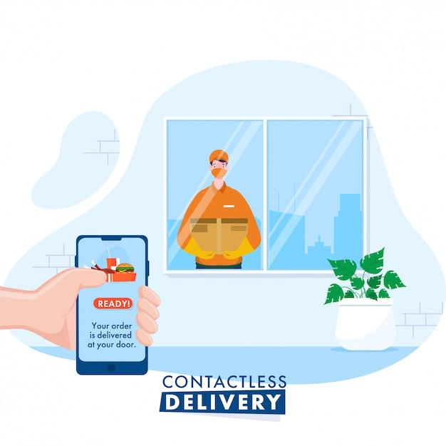 Courier Boy Vous Informe De La Livraison Des Commandes à Partir D'un Smartphone Pour Une Livraison Sans Contact Pendant La Pandémie De Coronavirus. Vecteur Premium