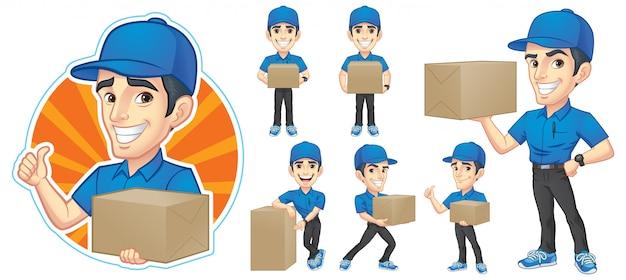 Courier young man character collection Vecteur Premium
