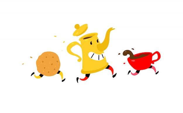 Courir la cafetière avec une tasse de café et des biscuits. Vecteur Premium
