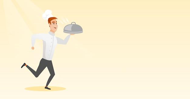 Courir Cuisinier Vecteur Premium