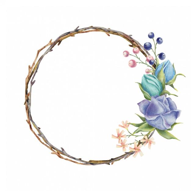 Couronne d'aquarelle à fleurs roses Vecteur Premium