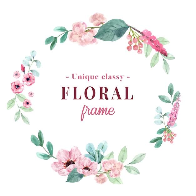Couronne Avec Aquarelle Florale Vintage D'illustration De Pivoine Et D'anémone. Vecteur gratuit