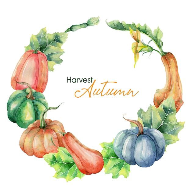 Couronne d'automne aquarelle peinte à la main avec citrouilles Vecteur Premium