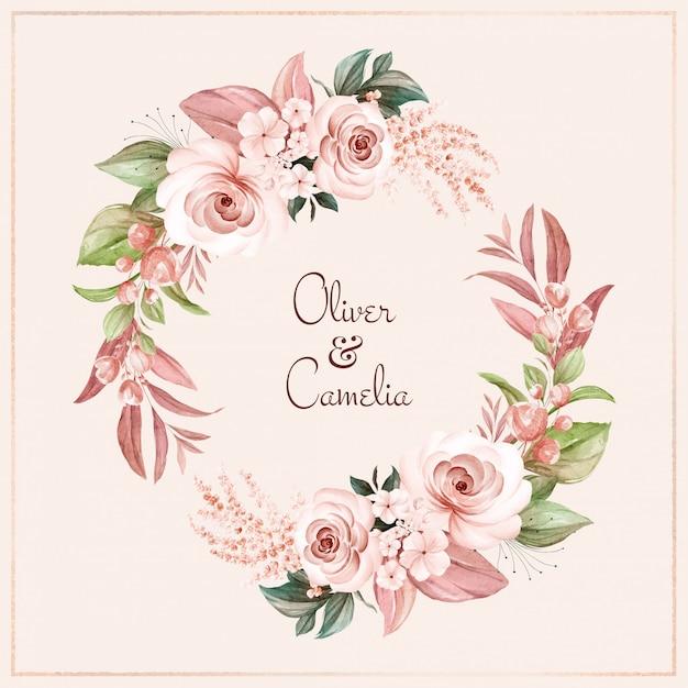 Couronne Brune De Roses Aquarelles Marron Et Fleurs Sauvages Avec Diverses Feuilles. Vecteur Premium