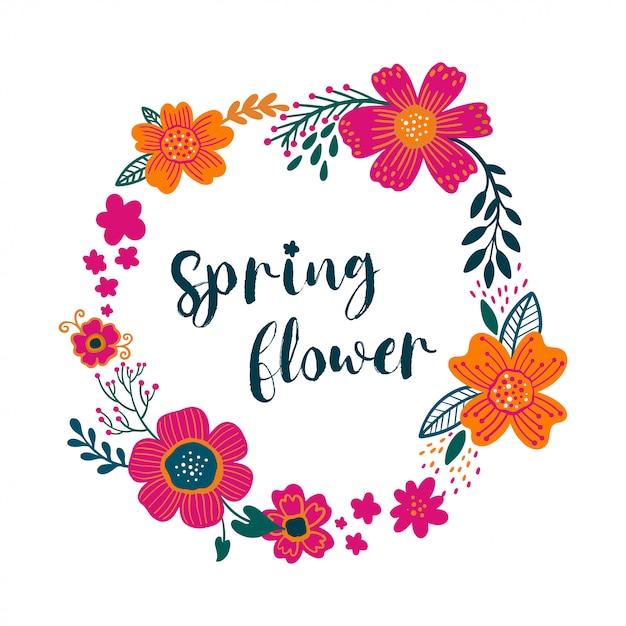 Couronne de carte de voeux floral vintage summer avec fleurs de jardin en fleurs Vecteur Premium