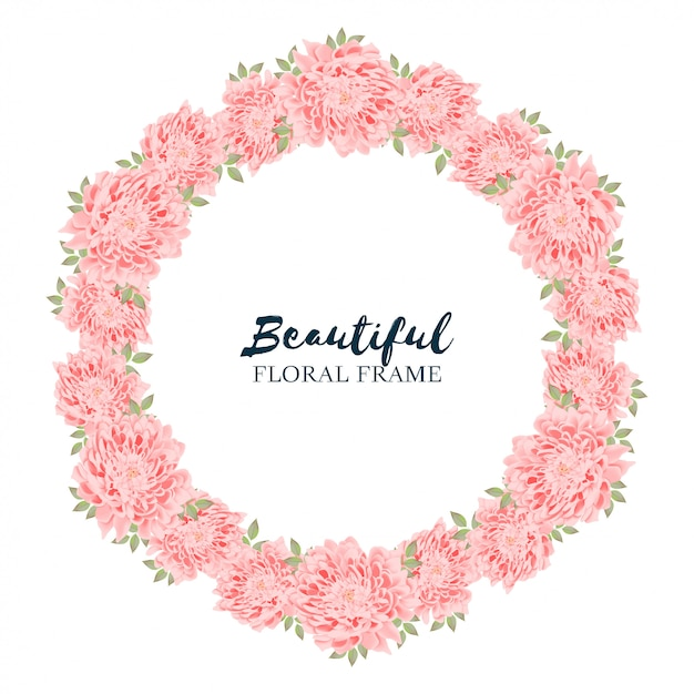 Couronne De Cercle Floral De Chrysanthème Vecteur Premium