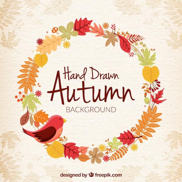 couronne d 39 automne avec des oiseaux t l charger des vecteurs gratuitement. Black Bedroom Furniture Sets. Home Design Ideas