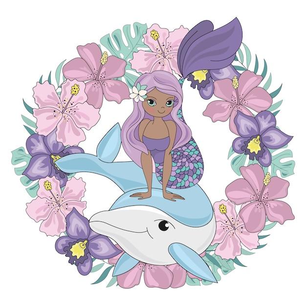 Couronne du dauphin animal floral sirène Vecteur Premium