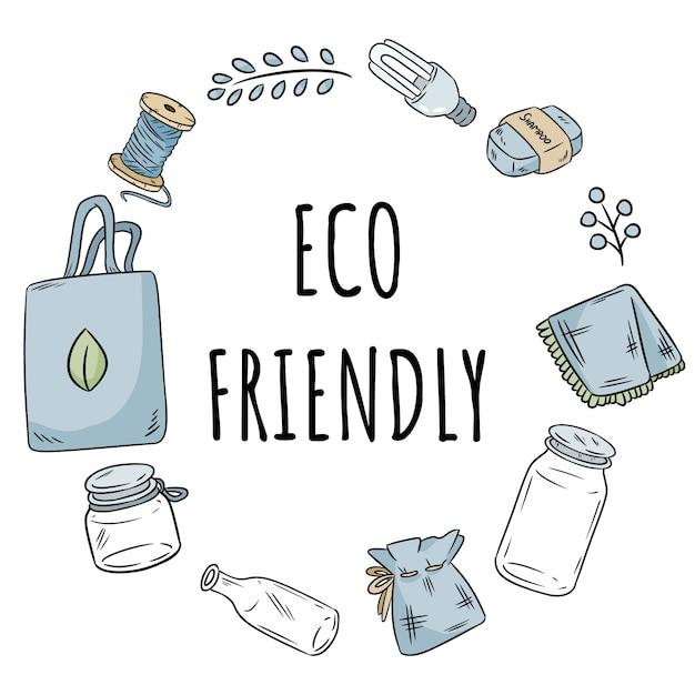 Couronne écologique sans articles en plastique Vecteur Premium