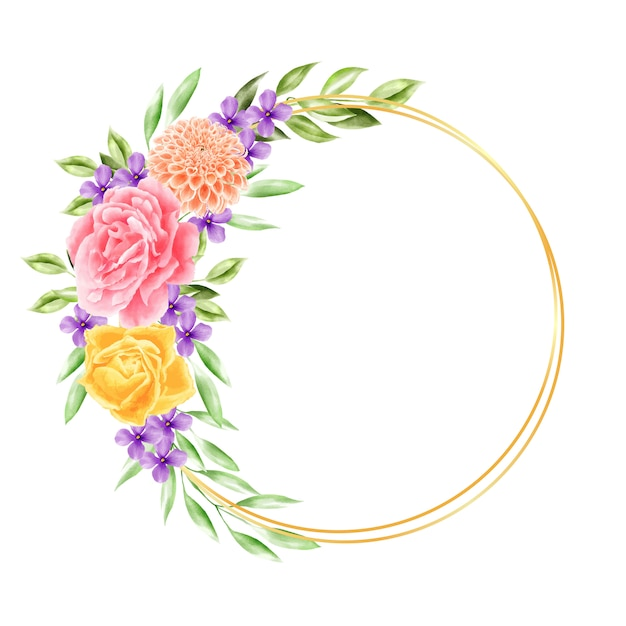 Couronne fleur aquarelle Vecteur Premium