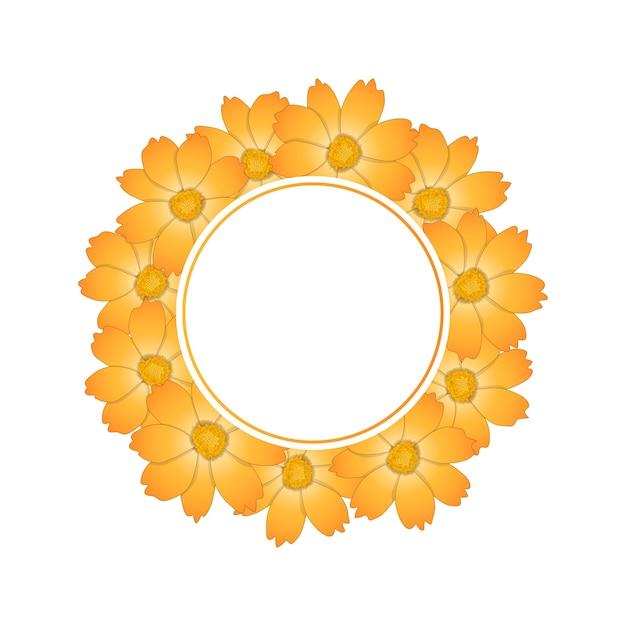 Couronne de fleur de cosmos jaune orange Vecteur Premium