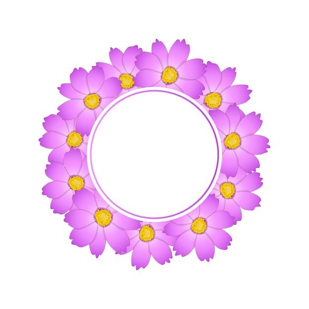 Couronne de fleur de cosmos rose Vecteur Premium