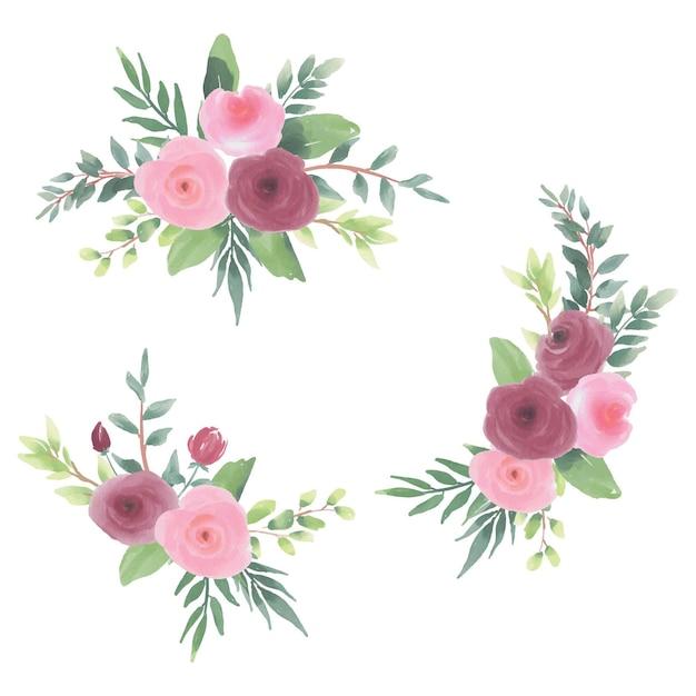 Couronne De Fleurs Aquarelle Clipart Vecteur Premium