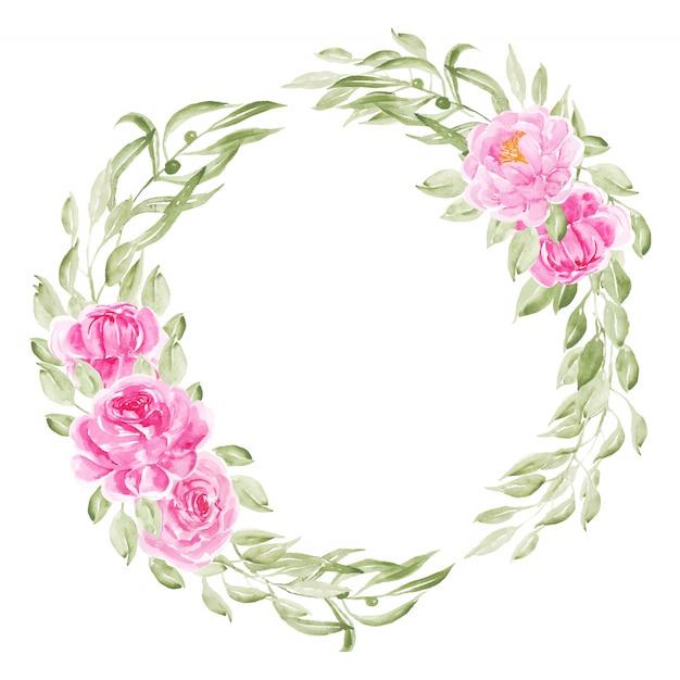 Couronne de fleurs aquarelle pivoine rose Vecteur Premium