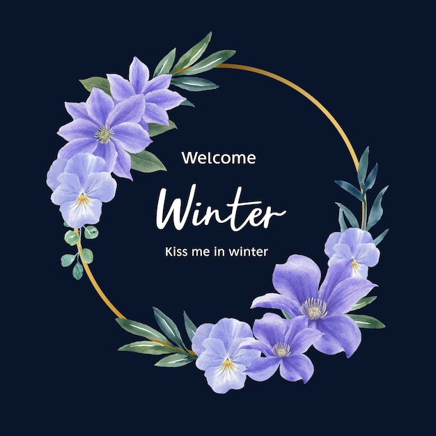 Couronne de fleurs d'hiver avec fleur pourpre Vecteur gratuit