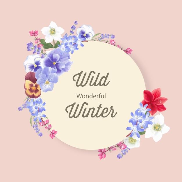 Couronne de fleurs d'hiver avec orchidée, lavande, anémone Vecteur gratuit