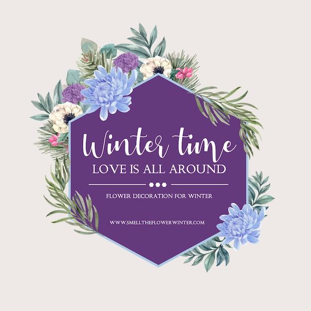 Couronne de fleurs d'hiver avec pivoine, anémone Vecteur gratuit