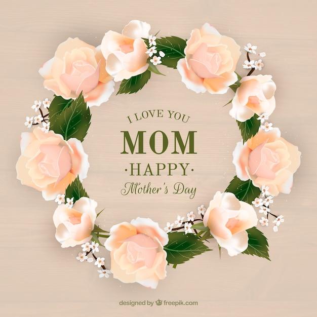 Couronne De Fleurs Réaliste Pour Le Jour De La Mère Vecteur gratuit