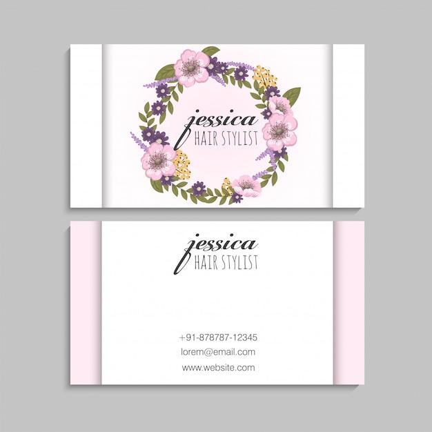 Couronne de fleurs rose cartes de visite Vecteur gratuit