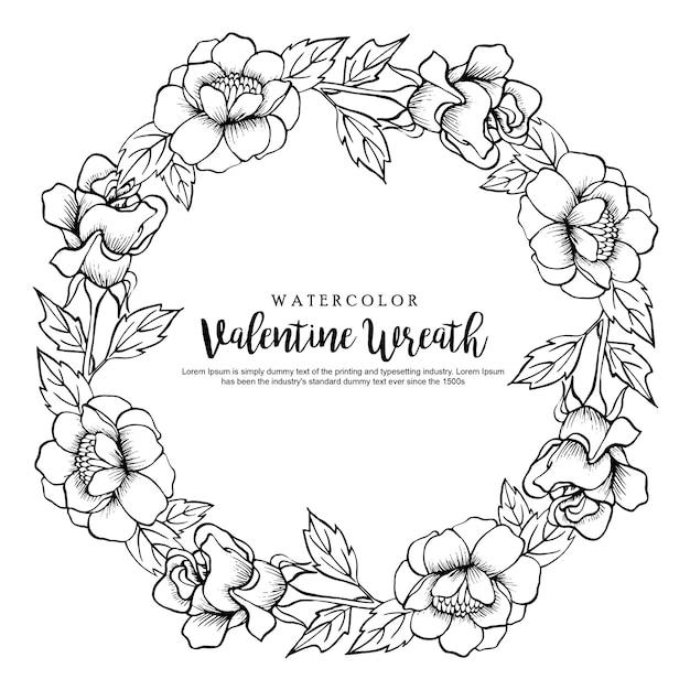 Couronne florale aquarelle valentine Vecteur Premium
