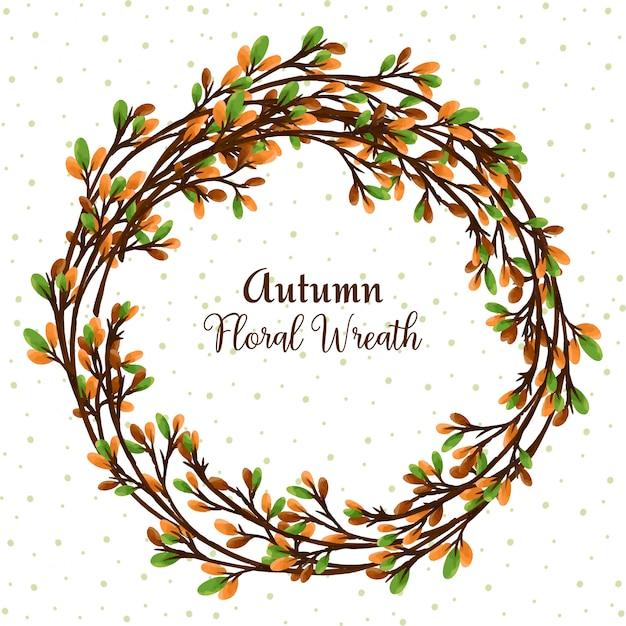 Couronne florale automne avec aquarelle florale numérique Vecteur Premium