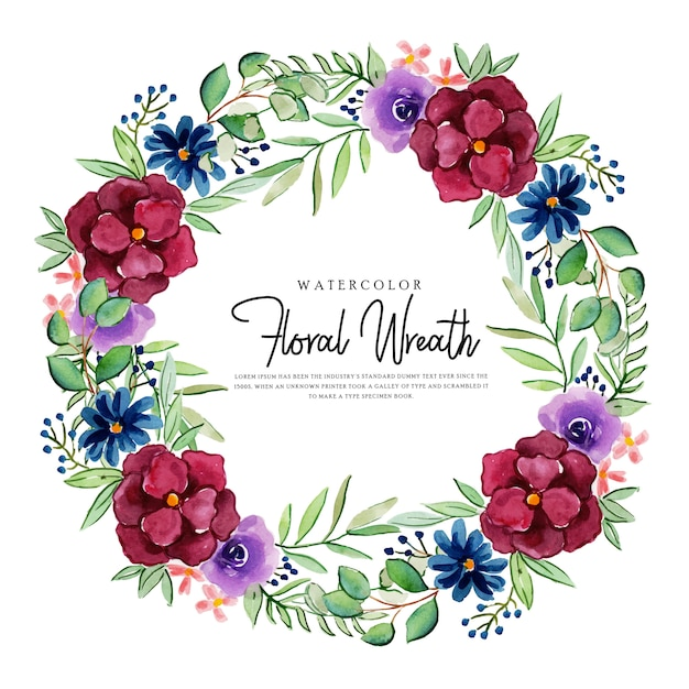 Couronne florale belle aquarelle polyvalente Vecteur Premium