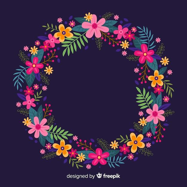 Couronne florale colorée dessinée à la main Vecteur gratuit