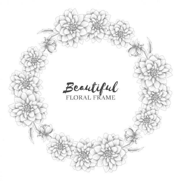 Couronne florale avec croquis de fleurs de dahlia Vecteur Premium