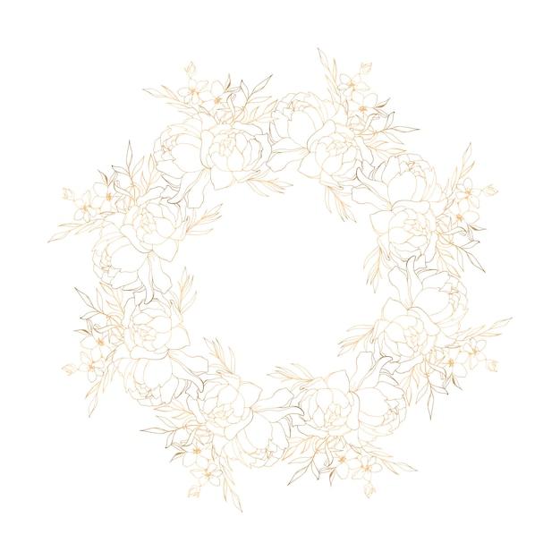 Couronne Florale Dorée Avec Pivoines Vecteur Premium