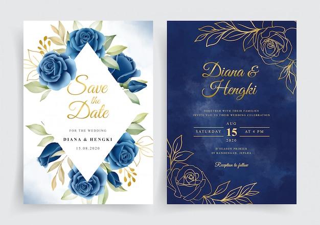 Couronne Florale élégante Bleu Marine Et Or Sur Le Modèle De Carte D'invitation De Mariage Vecteur Premium