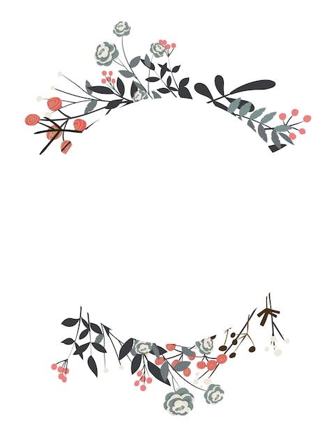 Couronne florale avec des feuilles pour mariage et vacances Vecteur Premium