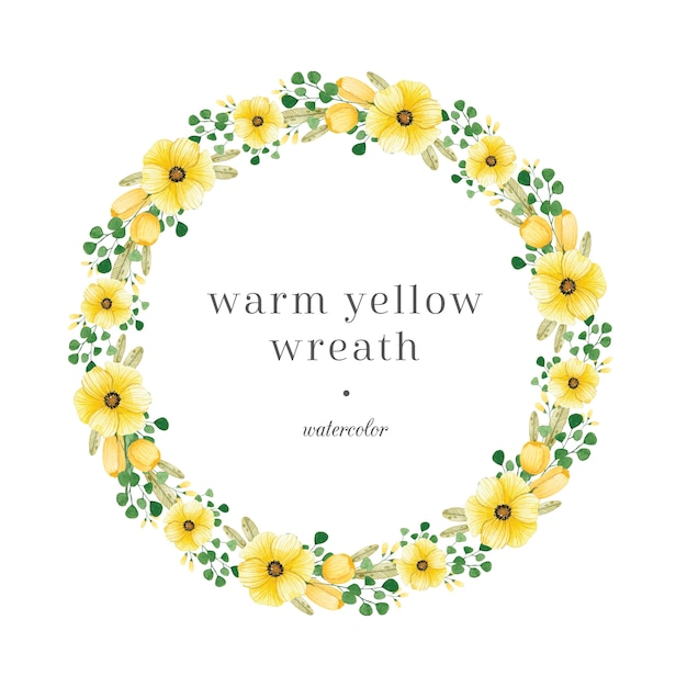 Couronne florale jaune avec des feuilles vertes Vecteur Premium