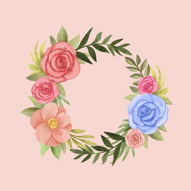 Couronne Florale Luxuriante Dans Un Style Aquarelle Vecteur gratuit