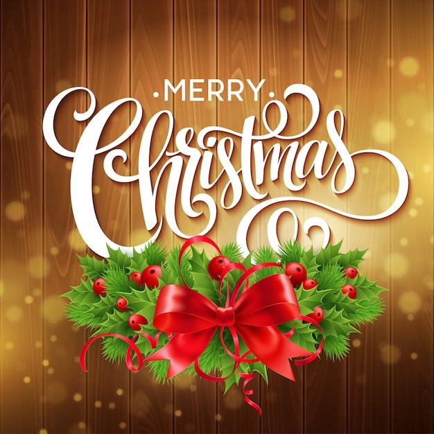 Couronne De Houx De Noël Avec Bannière De Texte Vecteur Premium