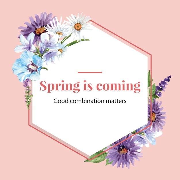 Couronne de jardin de fleurs à la lavande, hibiscus, illustration aquarelle de marguerite. Vecteur gratuit