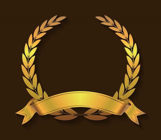 Couronne de laurier doré Vecteur Premium