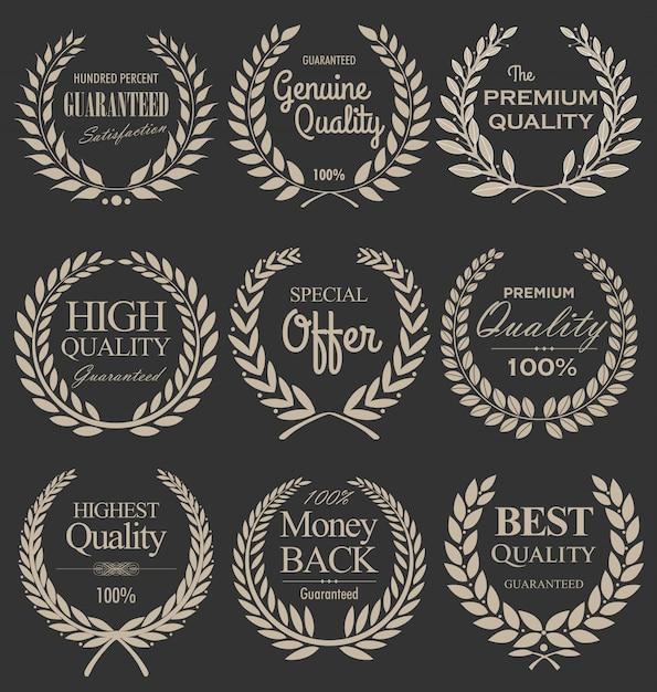Couronne de laurier de qualité supérieure, set Vecteur Premium