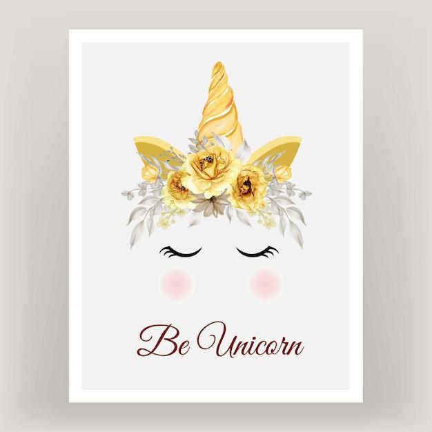 Couronne De Licorne Fleur Aquarelle Or Rose Jaune. Vecteur Premium