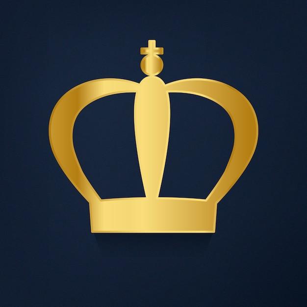 Couronne d'or sur le vecteur de fond bleu Vecteur gratuit