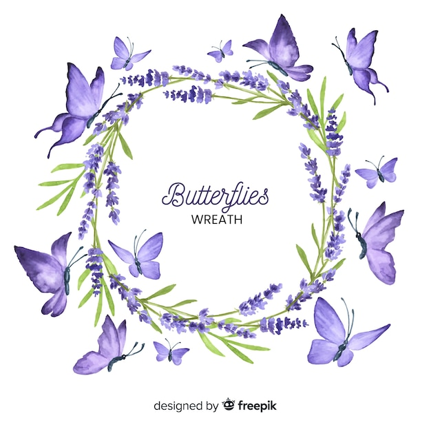 Couronne de papillon dessiné à la main Vecteur gratuit