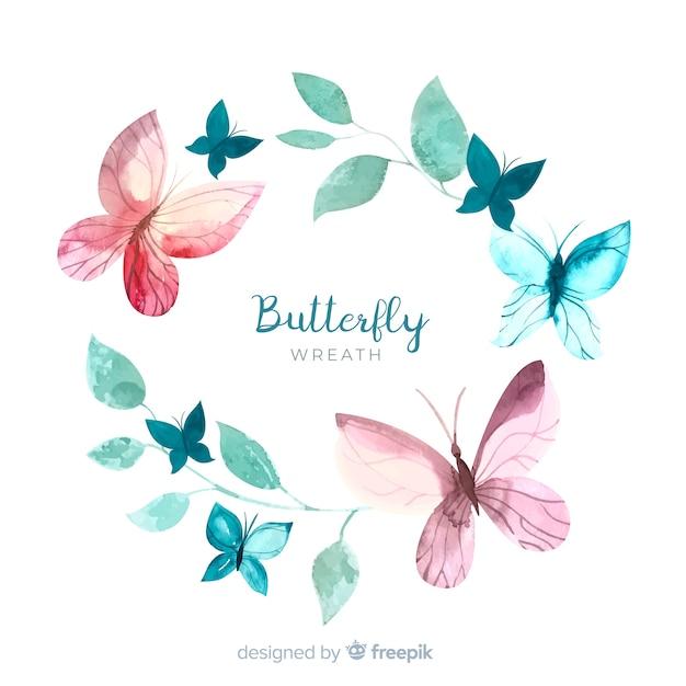 Couronne de papillons aquarelle Vecteur gratuit