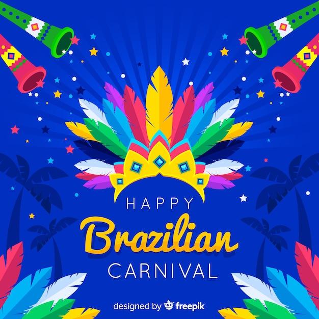 Couronne De Plumes Fond De Carnaval Brésilien Vecteur gratuit