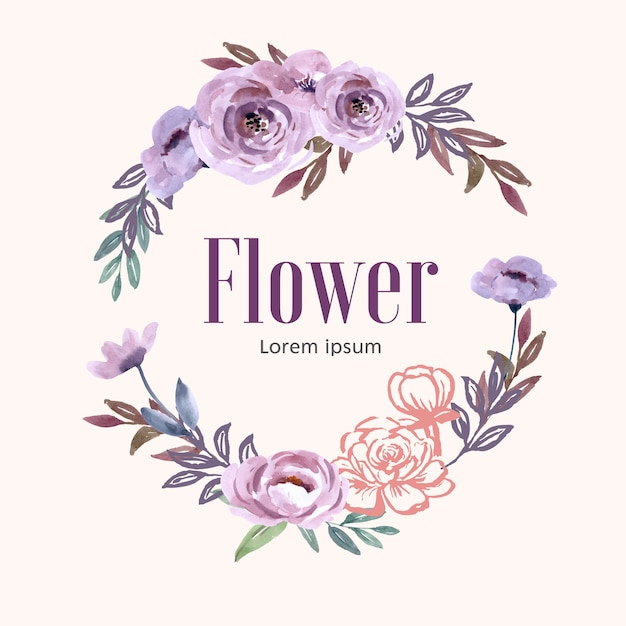 Couronne pour création artistique, fleurs au trait pastel Vecteur gratuit