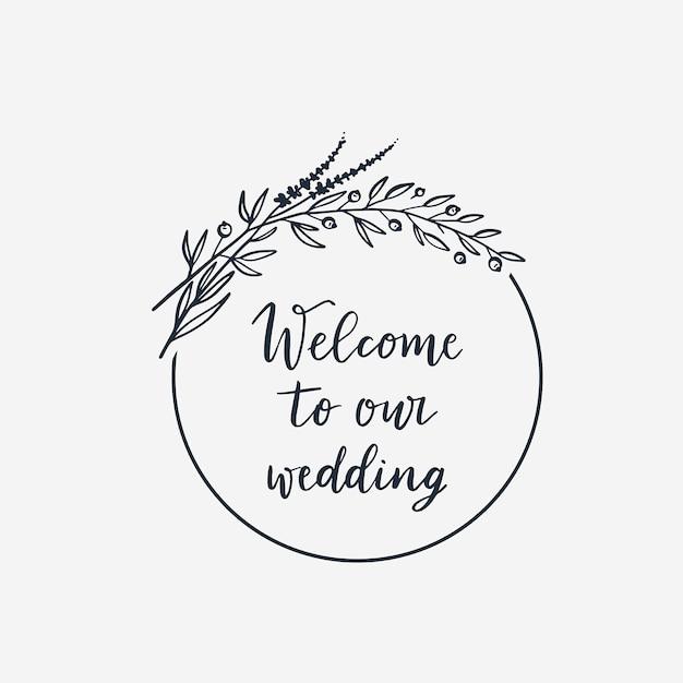Couronne pour la décoration de mariage Vecteur Premium