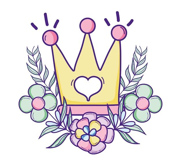 Couronne De Reine Mignonne Avec Des Fleurs Et Des Feuilles Vecteur Premium