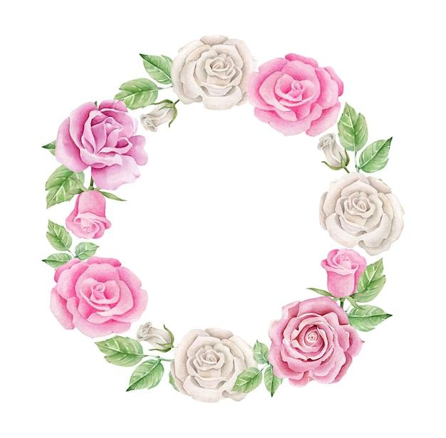 Couronne De Roses Aquarelle Vecteur Premium