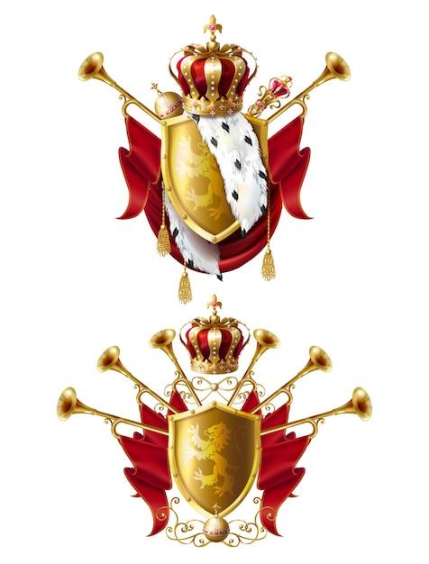 Couronne royale, sceptre et orbe ensemble réaliste Vecteur gratuit