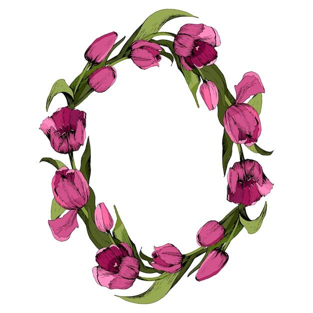 Couronne de tulipes roses colorées. Vecteur Premium