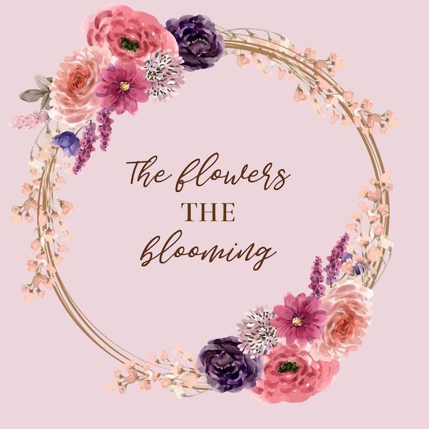 Couronne De Vin Floral Avec Lupins, Lisianthus, Illustration Aquarelle Pivoine Vecteur gratuit
